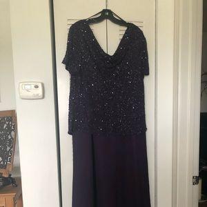 JKara purple sequin & chiffon formal gown